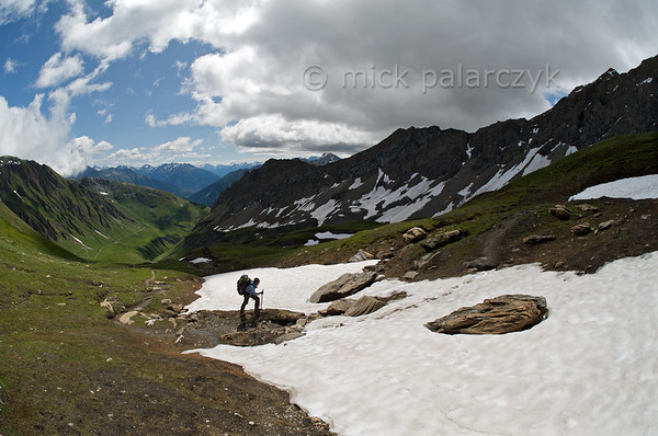 Hiker on Alta Via dei Giganti near Col Malatra.