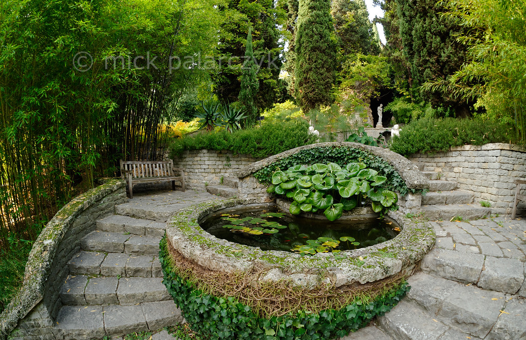 [ITALY.LIGURIA 28999] 'Pond in Hanbury Gardens'.'  Pond in the Hanbury Botanical Gardens, located on the Côte d'Azur near Ventimiglia. Photo Mick Palarczyk.