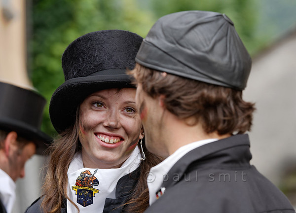 [ITALY.PIEMONTE 11028] 'Swedish chimney sweeps in Villette.'  Cassandra Öhman and David Marberg, chimney sweeps from Sweden, photographed in Villette during the International Chimney Sweeps Gathering (Raduno Internazionale dello Spazzacamino) in Valle Vigezzo. Photo Paul Smit.