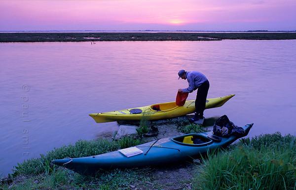 Kayaks in Lagoon of Venice.
