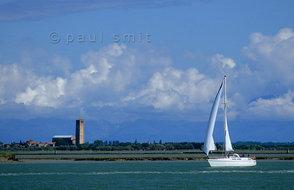 Cathedral of Torcello with Alps.