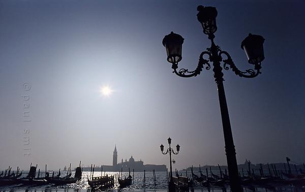 Gondolas in front of San Giorgio Maggiore.