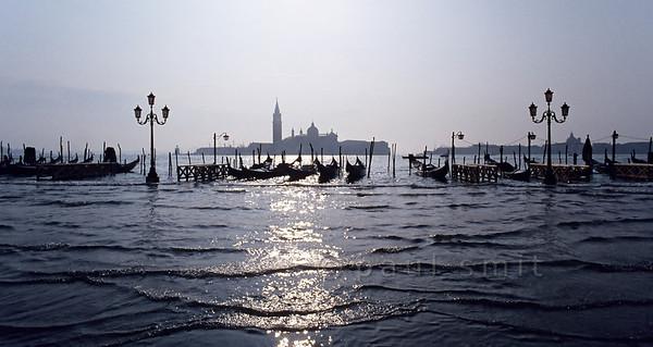 Gondolas and San Giorgio Maggiore.