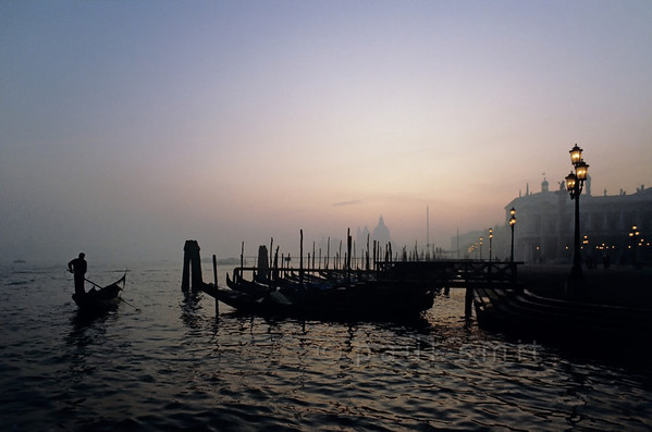 Gondolas at dusk.