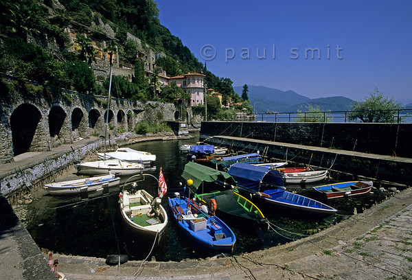 [ITALY.PIEMONTE 01591]  'Old port.'  The old port of Cannero-Riviera, that part of the Lago Maggiore shore where it resembles most the French Riviera. Photo Paul Smit.