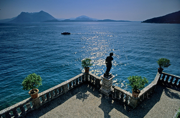 [ITALY.PIEMONTE 01684]  'In the gardens of Isola Bella.'  View over Lago Maggiore from the gardens of Isola Bella, indeed the 'beautiful island.' Photo Paul Smit.
