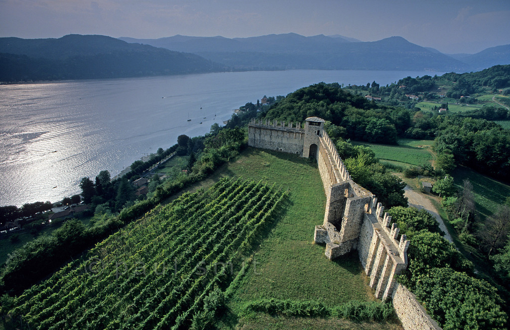 [ITALY.LOMBARDIA 01824]  'Rocca Borromeo castle.'  View over Lago Maggiore from stronghold Rocca Borromeo at Angera. It is one of the main sights on the eastern shore, part of province Lombardia. Photo Paul Smit.