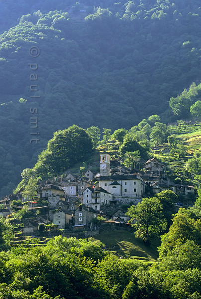 [SWITZER.TICINO 01317]  'Authentic village.'  Corippo in Valle Verzasca is seen as one of the most authentic villages of Ticino and put under protection. The houses were built close around the church since arable land was scarce. Photo Paul Smit