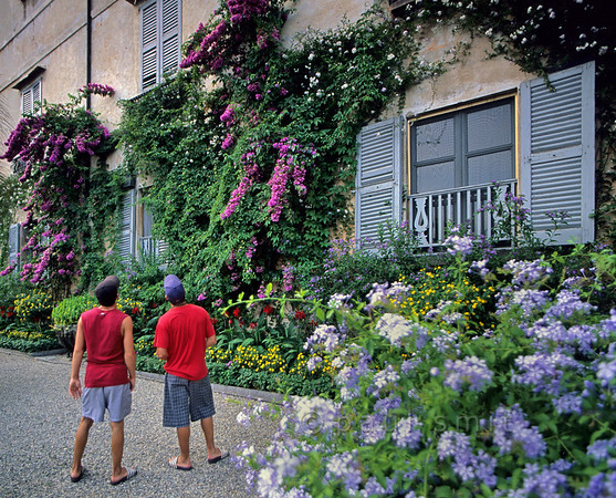 [ITALY.PIEMONTE 01717]  'The villa, Isola Madre.'  Isola Madre in Lago Maggiore is an 'English' style garden, but very exotical. Even its villa is covered with flowers. Photo Paul Smit.