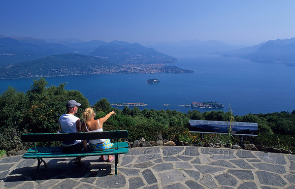 [ITALY.PIEMONTE 01735]  'Best panorama.'  The best spot for looking down on Lago Maggiore and the Borromeo Islands is the Giardino Botanico Alpinia, a short walk from the Alpino cable car station above Stresa. Photo Paul Smit.