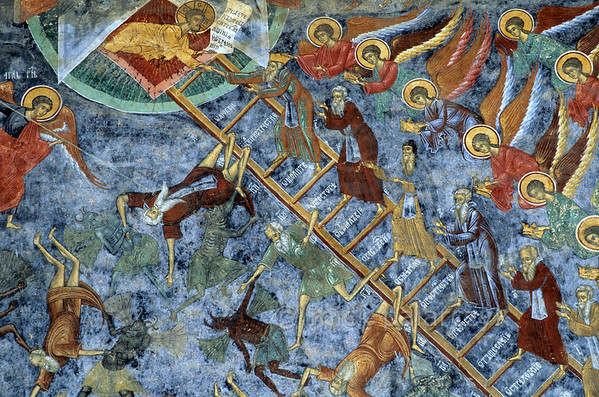 [ROMANIA.MOLDAVIA 24.104] 'Mind your step!'  	On the north wall of Sucevita's church angels assist the righteous to heaven on this Ladder of Virtue, while sinners fall through the steps into the arms of grinning demons. The frescoes on the church were painted by the brothers Ioan and Sofronie of Suceava in 1595. Photo Mick Palarczyk.