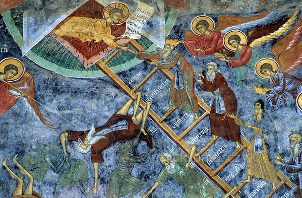 [ROMANIA.MOLDAVIA 24.106] 'Mind your step!'  	On the north wall of Sucevita's church angels assist the righteous to heaven on this Ladder of Virtue, while sinners fall through the steps into the arms of grinning demons. The frescoes on the church were painted by the brothers Ioan and Sofronie of Suceava in 1595. Photo Mick Palarczyk.