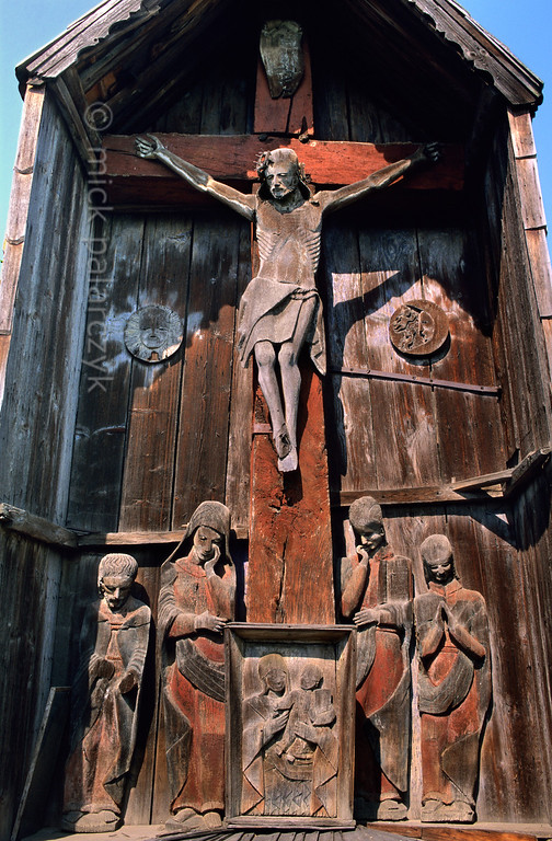 [ROMANIA.MARAMURES 23.706] 'Crucifix.'  	The crucifix (troita) at Berbesti is a masterpiece of 17th century woodcarving. Photo Mick Palarczyk.