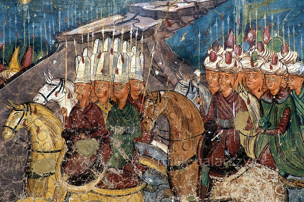 [ROMANIA.MOLDAVIA 23.930] 'Turkish threat.'  	Advancing Turkish and Persian armies echo the uncertain times in which the frescoes of Moldovita Monastery were painted. The fresco was done in 1537 by Toma of Suceava. Photo Mick Palarczyk.