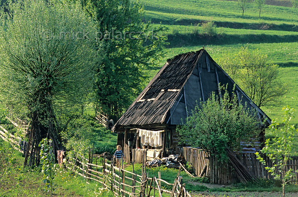 [ROMANIA.MARAMURES 23.896] 'Cottage in Valeni.'  	On the verandah of a traditional wooden house in Valeni shirts are drying in the sun. Photo Mick Palarczyk.
