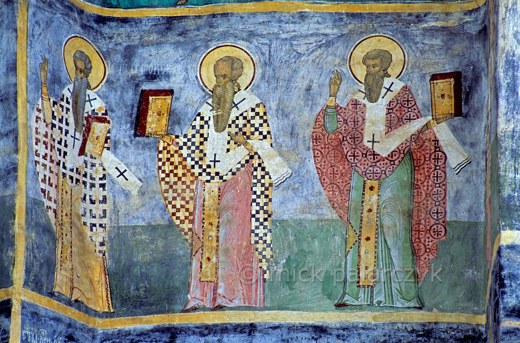 [ROMANIA.MOLDAVIA 24.119] 'Three Saints.'  Painted in 1595 by the brothers Ioan and Sofronie of Suceava, a procession of Saints covers the choir of the church at Sucevita Monastery. Here a detail from the north side of the choir. Photo Mick Palarczyk.