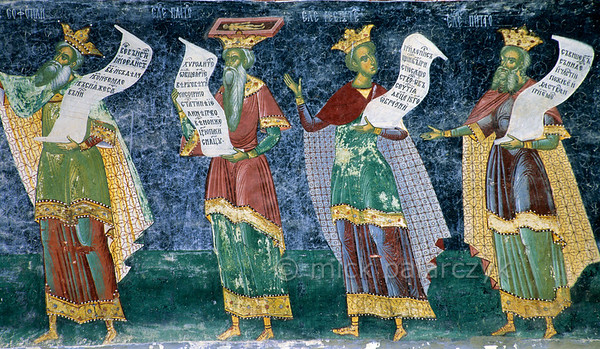 [ROMANIA.MOLDAVIA 24.072] 'Ancient philosophers.'  	On the south wall of The Assumption Church in the Sucevita Monastery a frieze shows ancient philosophers clad in Byzantine cloaks. Plato bears a coffin with a skeleton on his head, in tribute to his meditations on life and death. The fresco was painted by the brothers Ioan and Sofronie of Suceava in 1595. Photo Mick Palarczyk.