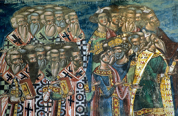 [ROMANIA.MOLDAVIA 23.977] 'The Righteous.'  	The 'righteous' flock at Christ's right hand in a Last Judgment scene on Moldovita's monastery church. The fresco was done in 1537 by Toma of Suceava. Photo Mick Palarczyk.
