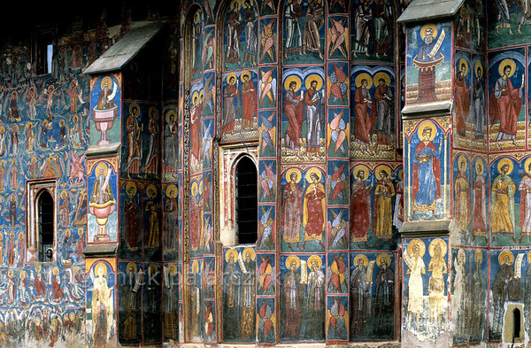 [ROMANIA.MOLDAVIA 23.954] 'Saintly parade.'  	A parade of saints covers the choir of Moldovita's monastery church. The frescoes were done in 1537 by Toma of Suceava. Photo Mick Palarczyk.