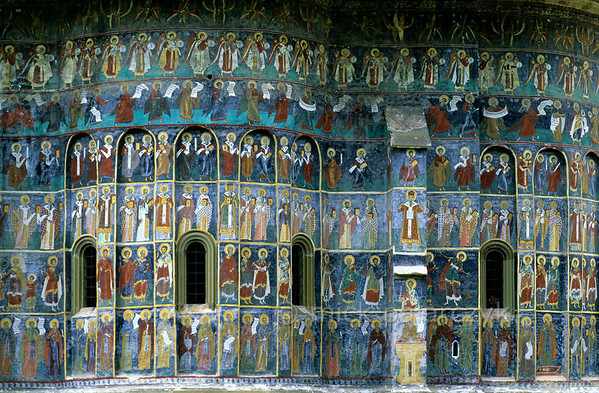 [ROMANIA.MOLDAVIA 24.076] 'Procession of Saints.'  	Painted in 1595 by the brothers Ioan and Sofronie of Suceava, a Procession of Saints covers the choir of the church at Sucevita Monastery. Photo Mick Palarczyk.