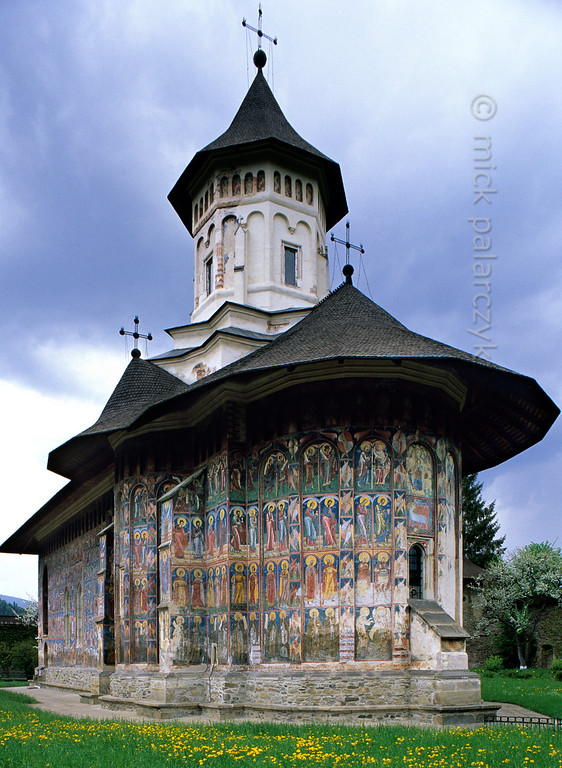 [ROMANIA.MOLDAVIA 23.914] 'Moldovita Monastery.'  	The Moldovita Monastery was founded in 1532 and the frescoes on its church were done in 1537 by Toma of Suceava. Photo Mick Palarczyk.