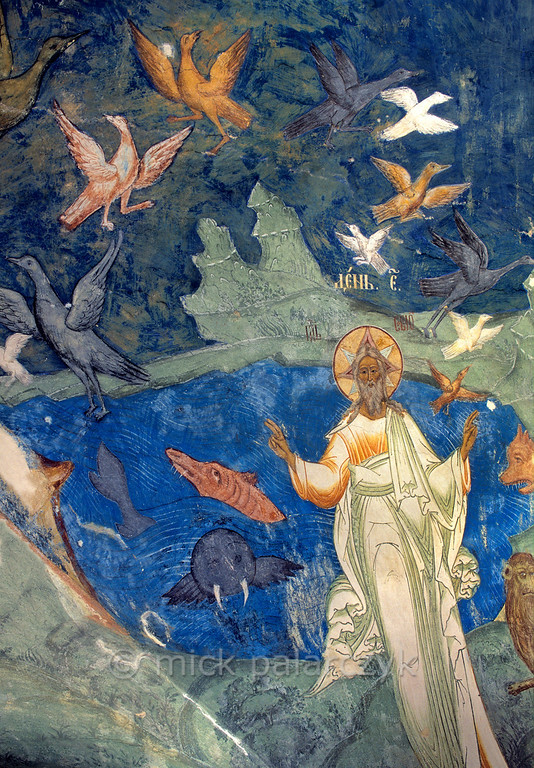 [RUSSIA.GOLDENRING 26.175] 'Creation of life.'  	The creation of life in the waters and skies; a scene created by unknown 17th century artists in the southern vestibule of Tutayev's Resurrection Cathedral. Photo Mick Palarczyk.