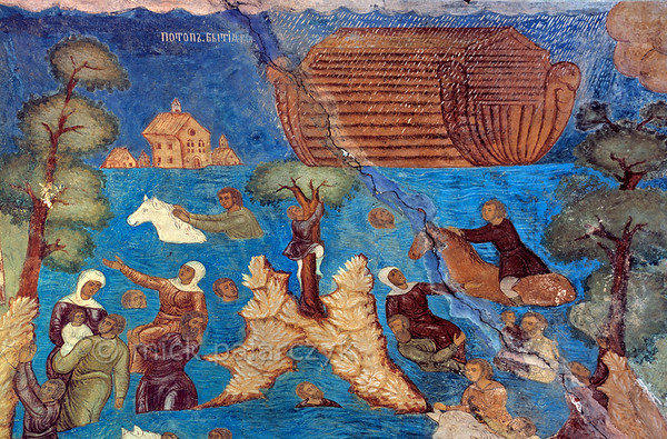 [RUSSIA.GOLDENRING 26.054] 'Noah's Flood.'  	As the doomed are struggling in the rising waters of the flood, Noah's  ark is safely braving the waves. Detail of 17th century fresco in the north vestibule of Yaroslavl's St. Elijah the Prophet Church. The painting was done by Gury Nikitin of Kostroma and his school. Photo Mick Palarczyk.