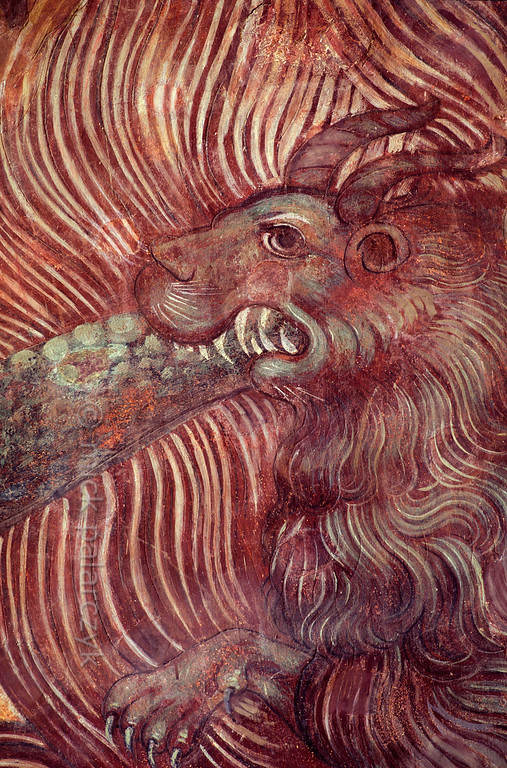 [RUSSIA.GOLDENRING 26.135] 'Hellish monster.'  A hellish monster forms part of a 17th century Last Judgment scene painted on the walls of the Church of the Saviour-over-the-Galleries (Tserkov Spasa-na-senyakh) in the kremlin of Rostov-Veliky. Photo Mick Palarczyk.