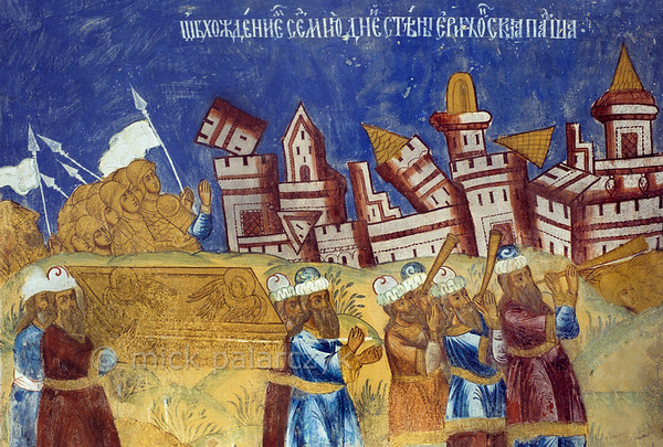 [RUSSIA.GOLDENRING 26.187] 'Destruction of Jericho's walls.'  Israelites carry the ark of the covenant around the city of Jericho, while priests blow their horns until the town walls come tumbling down. The scene was created by unknown 17th century artists in the porch of Tutayev's Resurrection Cathedral. Photo Mick Palarczyk.