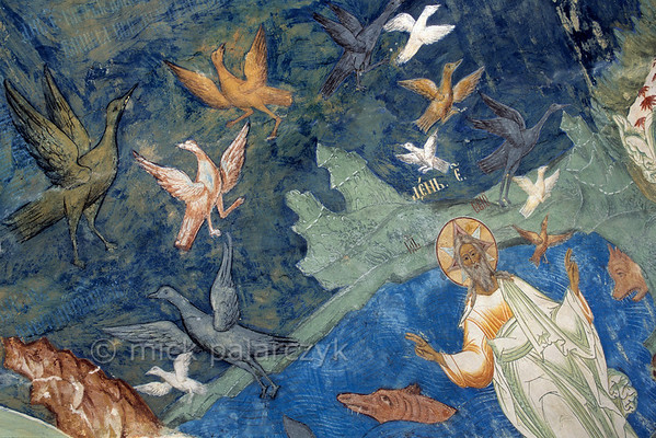 [RUSSIA.GOLDENRING 26.177] 'Creation of life.'  	The creation of life in the waters and skies; a scene created by unknown 17th century artists in the southern vestibule of Tutayev's Resurrection Cathedral. Photo Mick Palarczyk.