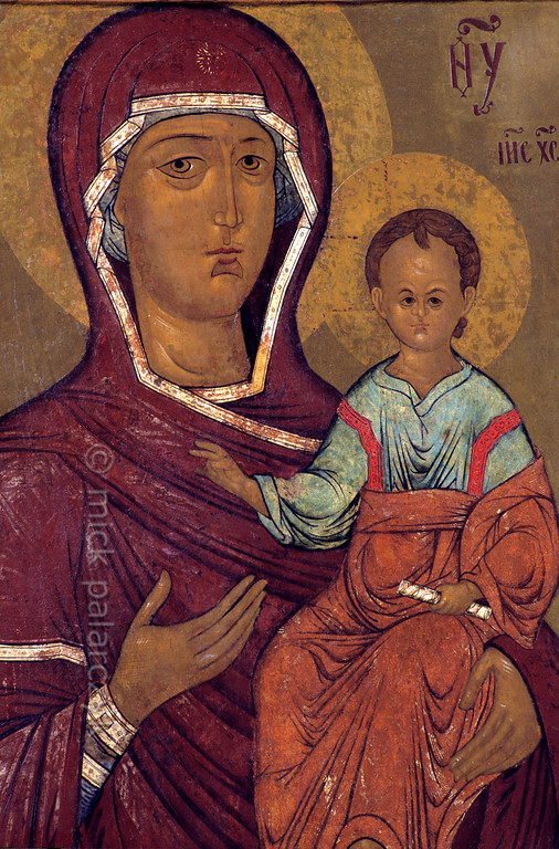 "[RUSSIA.GOLDENRING 26.111] 'Our Lady of Smolensk.'  	The icon ""Our Lady of Smolensk"" (1530) can be found in the Church of Tsarevich Dimitri ""on the Blood"" in the little Volga town of Uglich. Photo Mick Palarczyk."