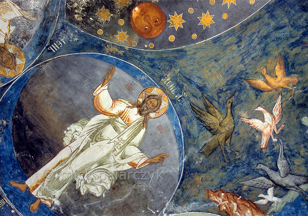 [RUSSIA.GOLDENRING 26.173] 'Cosmic bubbles.'  	God created the universe within several spheres according to the  unknown 17th century artists who painted this fresco in the southern vestibule of Tutayev's Resurrection Cathedral. Life in the form of fluttering birds seems to break away from this mathematical clarity as they fly freely between the orbs. Mick Palarczyk.