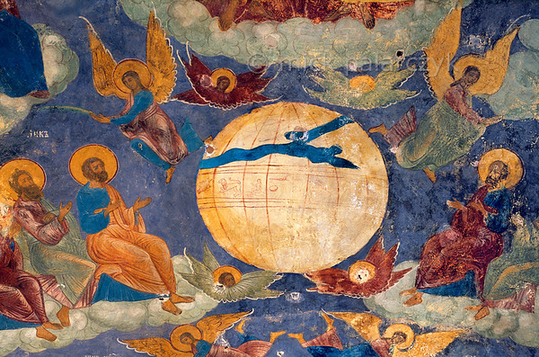 [RUSSIA.GOLDENRING 26.056] 'Zodiac.'  	Saints and angels surround a heavenly globe with signs of the zodiac. Detail of 17th century fresco in the porch of Yaroslavl's St. Elijah the Prophet Church. The painting was done by Gury Nikitin of Kostroma and his school. Photo Mick Palarczyk.