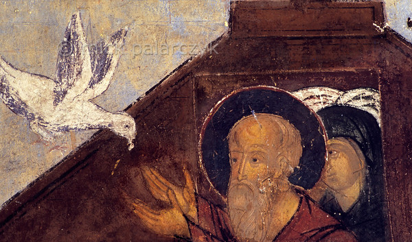 [RUSSIA.GOLDENRING 26.073] 'Noah's dove.'  	Noah welcomes the returning dove in his ark on a fresco in the western vestibule of Yaroslavl's Church of St. Nicholas the Miracle-Worker (1622). Photo Mick Palarczyk.