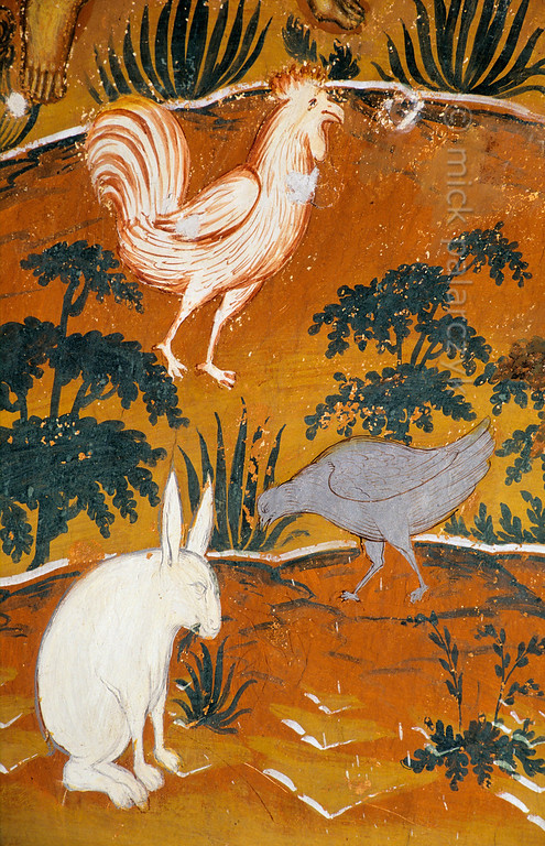 [RUSSIA.GOLDENRING 26.170] 'Poultry in paradise.'  	Poultry and a hunchback rabbit rummage among the undergrowth in a paradise scene that was created by unknown 17th century artists in the southern vestibule of Tutayev's Resurrection Cathedral. Photo Mick Palarczyk.