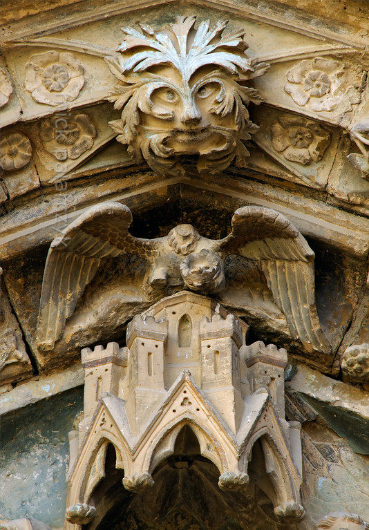 [SPAIN.NAVARRA 28678] 'Detail of Olite's Santa Maria la Real church.'  	Detail of the Gothic timpanum of the church of Santa Maria la Real in Olite. The church forms part of Olite Castle which was built by the kings of Navarre in the 14th and 15th century. Photo. Mick Palarczyk.
