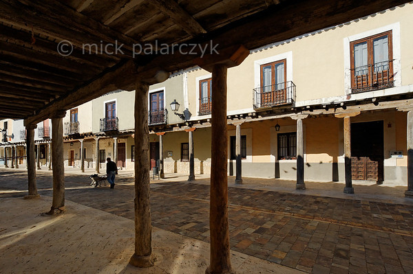 [SPAIN.CLEON 28650] 'Village of Ampudia.'  	The arcades that border the streets of the medieval village of Ampudia (Palencia province) are supported by wooden beams. (Palencia province). Photo Mick Palarczyk.