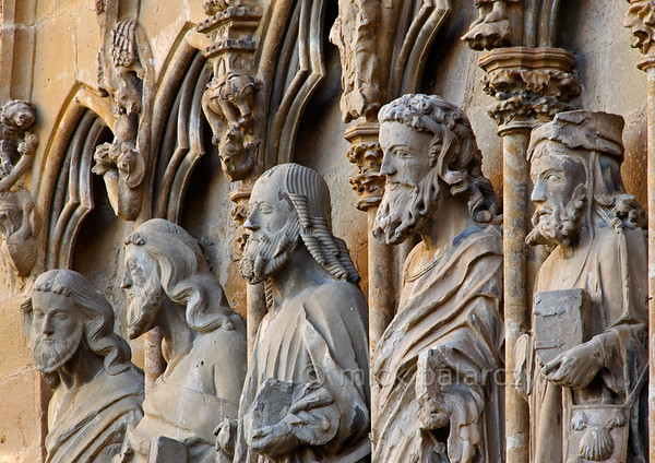 [SPAIN.NAVARRA 28676] 'Apostles in Olite.'  	Apostles on the Gothic facade of the church of Santa Maria la Real, which forms part of Olite Castle. The castle of Olite was built by the Evreux family, the royal dynasty of French origin that ruled the Kingdom of Navarre in the 14th and 15th century. Photo. Mick Palarczyk.