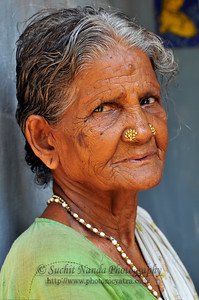 Portrait of an old lady at her home in rural South India.