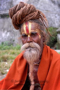 Portrait of a Monk. Hindu ascetics and monks go for days doing puja (prayer) and tantric practices without caring about their external appearance to the world. They often appear mad and unpredictable to the rest of the world due to their strang ways. While there are fakes, the true yogis renounce the world and ignore everything external including their look & attire. October 2006.