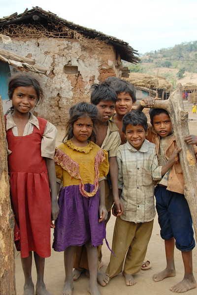 """India: """"Happy children"""": As I was walking down the lanes of the village in near Nagpur, Maharashtra the children started to follow me and then at one time gave me a pose which I have captured here. Jan 2007.<br /> Jan 2007."""