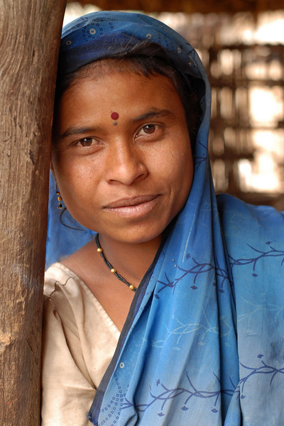 India: In a village near Nagpur, Maharashtra I took a portrait of this lady in a blue saree. Jan 2007.
