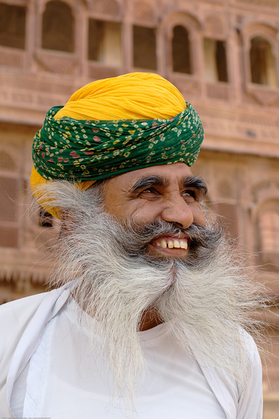 Rajasthani man with flowing beard at the Jodhpur Palace in Rajasthan. Western part of India. South Asia