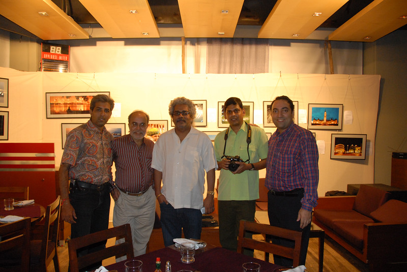 Photographers with the famous musician & singer Hari Haran. Seen from left to right. Mukesh Trivedi, Swapan Mukherjee, Hari Haran, Venky (Venkatesh Hariharan), and Suchit Nanda
