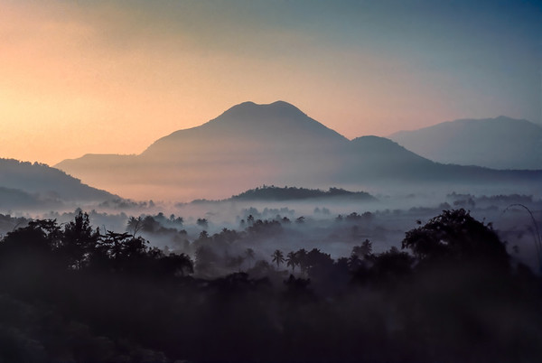 Sunrise on train to Yogyakarta, Indonesia, 1987