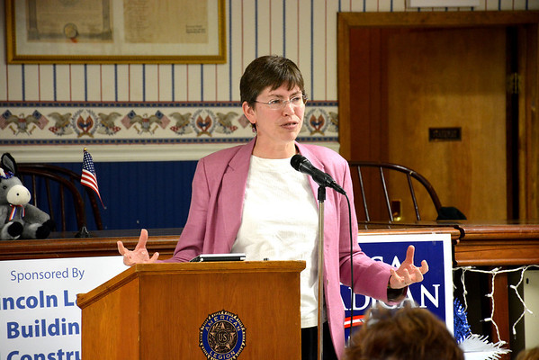 Lt. Governor Sheila Simon speaks at the Effingham Democrat Party soup supper. Simon is running against Judy Baar Topinka for state comptroller.