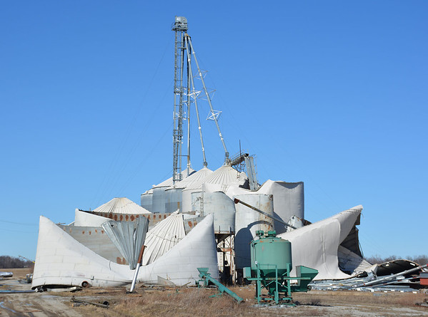Several grain bins, located about three miles north of Toledo off Burma Road, were flattened by straight-line winds..