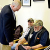 Congressman John Shimkus hands a Valentine's Day card to Lester Caudell at the Effingham VA Clinic. Shimkus said the cards were drawn by grade school students and give him a chance to speak with veterans and medical staff about the issues they are dealing with while also providing a lesson to students.