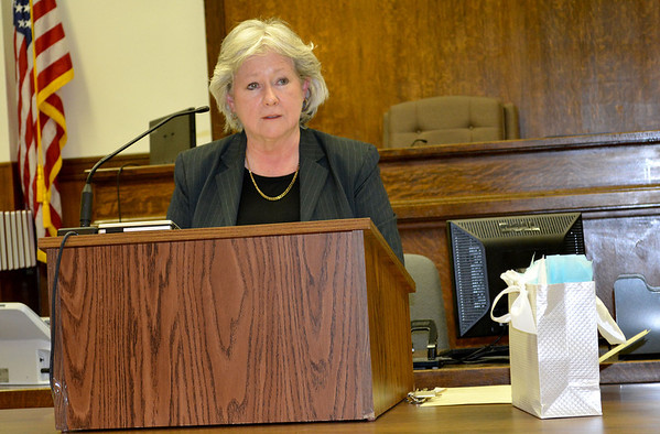 Now-retired Judge Sherri L.E. Tungate speaks to a group of well-wishers at her retirement ceremony Saturday.