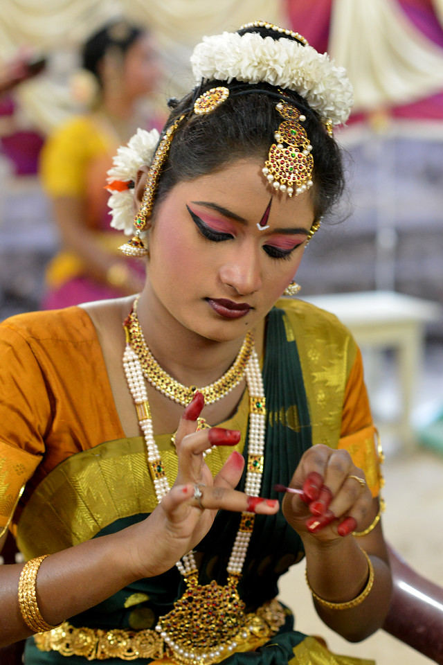 "Behind the scene preperation.<br /> Bharatham: Nataraja Arts Academy Students of Guru Sirisha,  Bangaluru performing at Chidambaram Natyanjali Dance Festival 2015 held at Chidambaram in February 2015. The festival is known for its serenity and uniqueness of the devotion of the dancers dedicating their ""Natya"" (Dance) as ""Anjali"" (Offering) and worship to the Lord of Dance - Lord Nataraja (Shiva)."